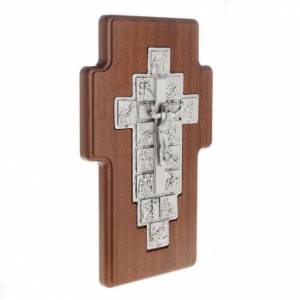 Wooden crucifixes: Silver crucifix on wooden cross with Way of the Cross, 14 statio