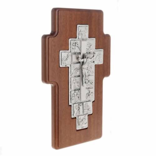 Silver crucifix on wooden cross with Way of the Cross, 14 statio s2