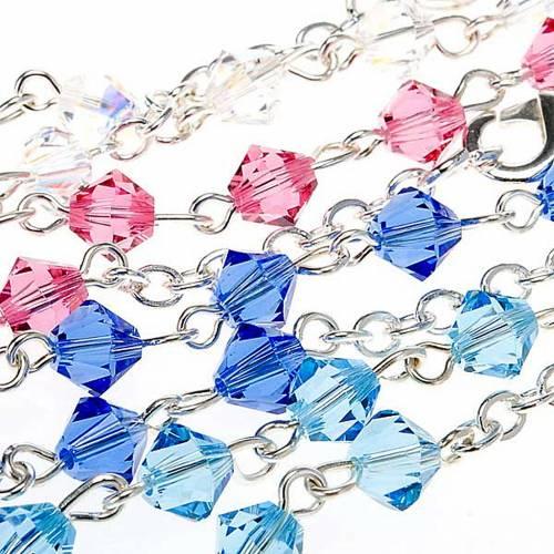 Silver decade rosary bracelet with Swarovski s7