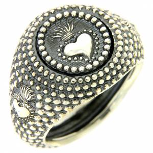Silver ring votive heart engraving s1