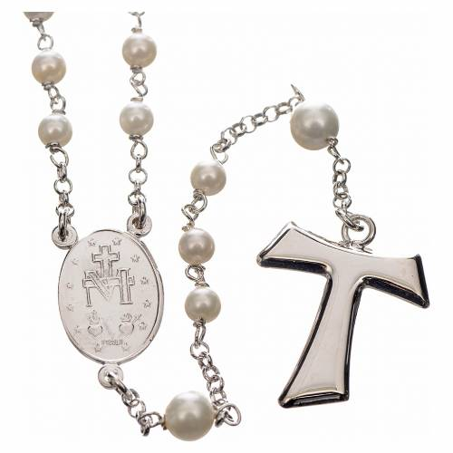 Silver rosary with freshwater pearls and tau cross, MATER jewels s2