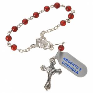 Single decade rosaries: Single-decade rosary in 800 silver and carnelian