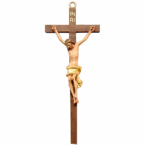 Single piece crucifix, in Valgardena wood 16cm s1