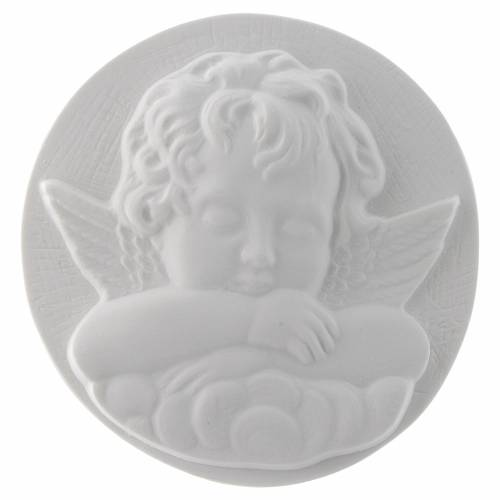 Sleeping Angel round shaped bas-relief in reconstituted marble s1