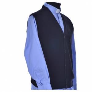 Cardigan jackets: Sleeveless black cardigan, 100% cashmere wool