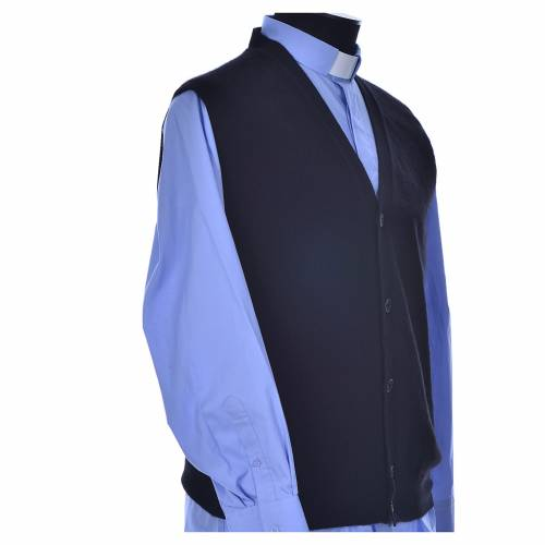 Sleeveless black cardigan, 100% cashmere wool s2