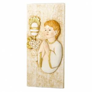 Bonbonnière: Small painting Boy First Communion rectangular shaped 5x10cm