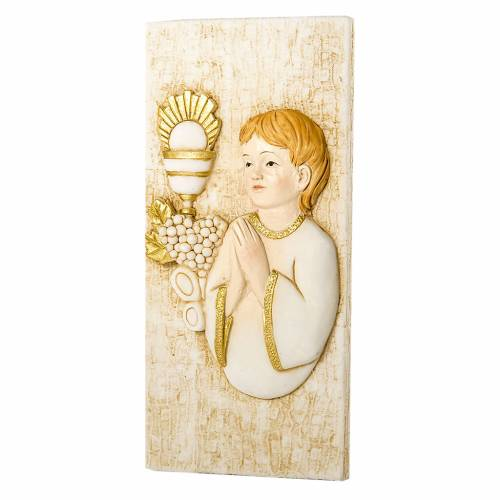 Small painting Boy First Communion rectangular shaped 5x10cm s1