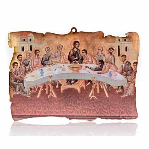 Small picture on wood Last Supper parchment s1