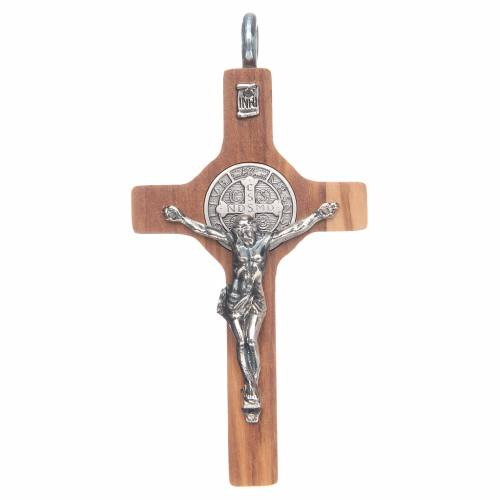 St. Benedict cross 8x4cm, sterling silver, olive wood with cord s1