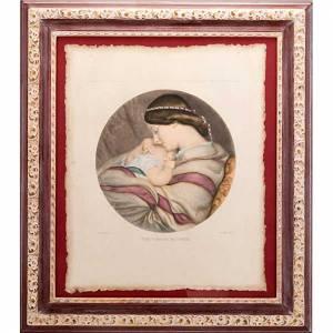 Quadri, stampe, codici miniati: Madre col bambino stampa Firenze