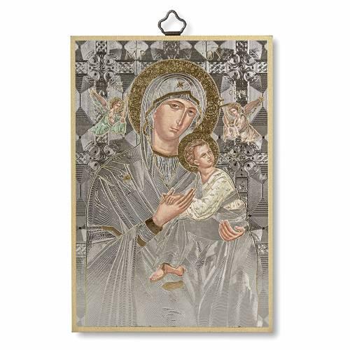 Stampa su legno Icona Madonna Perpetuo Soccorso A Te Maria fonte di Vita ITA s1