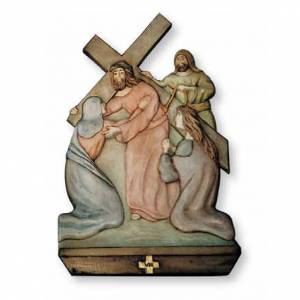 Stations of the Cross relief in painted wood s1