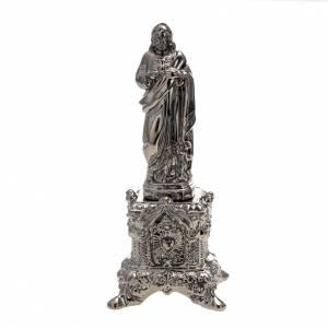 Statua ceramica platino Sacro Cuore Gesù su tronetto s1