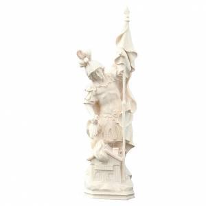Statua di San Floriano in legno naturale Val Gardena s1