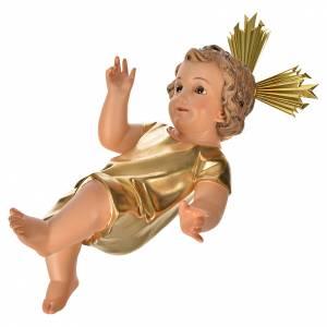 Statue Gesù Bambino: Gesù Bambino pasta legno veste dorata cm 35 dec. elegante