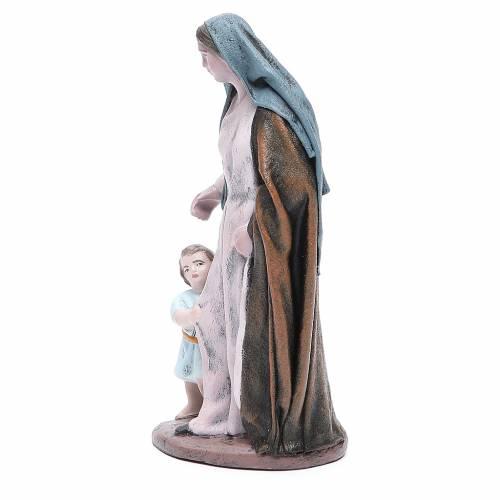 Statua presepe Donna con bimba terracotta 17 cm s2
