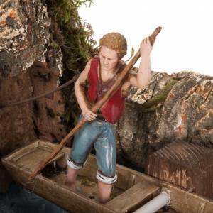 Movimento presepe: Statua presepe in movimento barcaiolo 10 cm