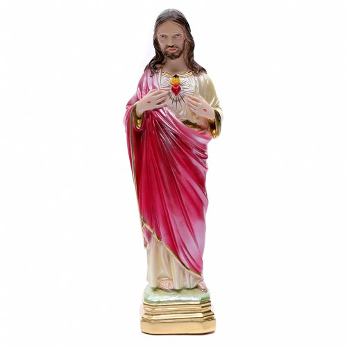 Statua Sacro Cuore di Gesù 40 cm gesso madreperlato s1