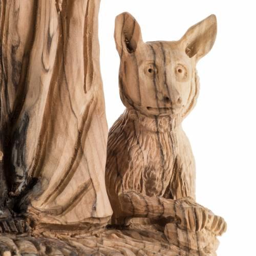 Statua San Francesco legno olivo Terrasanta 30 cm s5