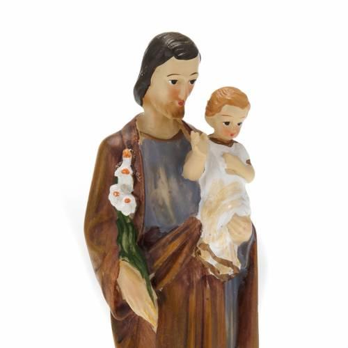 Statua San Giuseppe con bambino resina colorata 20 cm s2