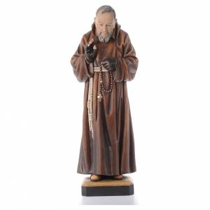 Statue bois St Padre Pio peinte s1