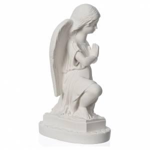 Statue extérieur Angelot mains jointes 28 cm marbre s3