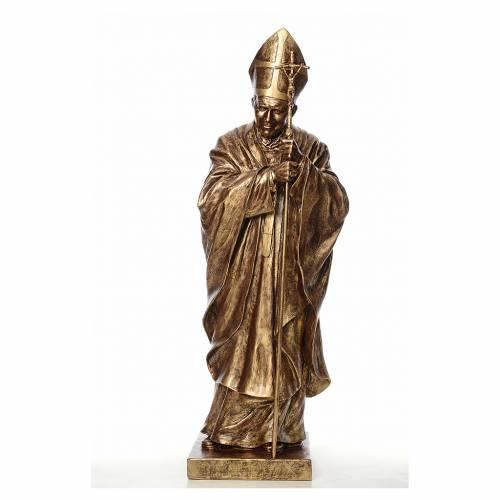 Statue Jean-Paul II fibre de verre couleur bronze 140cm Landi s1
