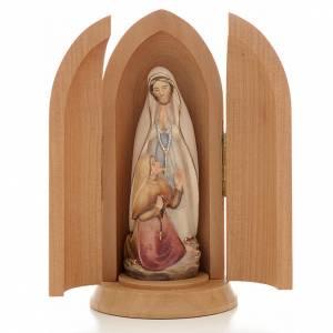 Statue Notre Dame de Lourdes et Bernadette dans niche bois peint s1