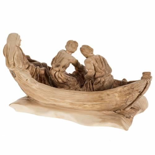 Statue Pêche Miraculeuse bois d'olivier Terre Sainte s6