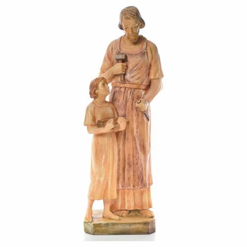 Statue Saint Joseph charpentier avec Enfant bois peint s1