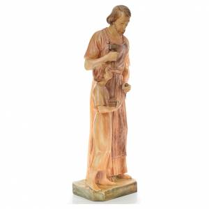 Statue Saint Joseph charpentier avec Enfant bois peint s4