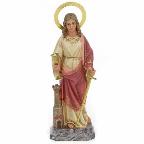 Statue Sainte Barbara 30 cm fin. élégante pâte à bois s1