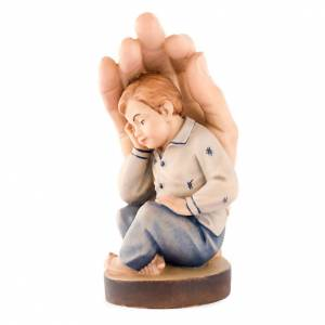 Statue in legno dipinto: Mano di Dio con bimbo