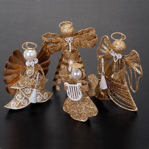 Statuettes anges 4 pièces glitter doré s4