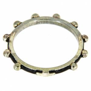 Prayer rings: Sterling silver rosary ring with black enamel, MATER