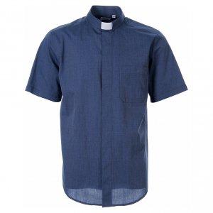 Camisas Clergyman: STOCK Camisa clergy manga corta fil a fil azul