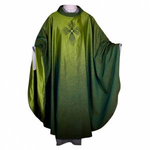 Chasubles: STOCK Chasuble blended colour with embroided Cross, wool