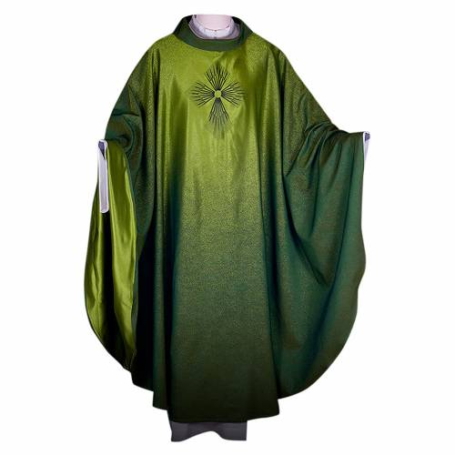 STOCK Chasuble blended colour with embroided Cross, wool s1
