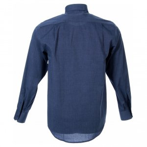 Clergy Shirts: STOCK clergy shirt, long sleeves blue end-on-end