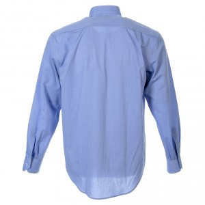 Clergy Shirts: STOCK Clergyman shirt in fil-a-fil light blue cotton, long sleeves