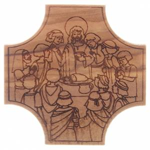 Wooden crucifixes: STOCK Cross in olive wood Last Supper engraving 6x6cm