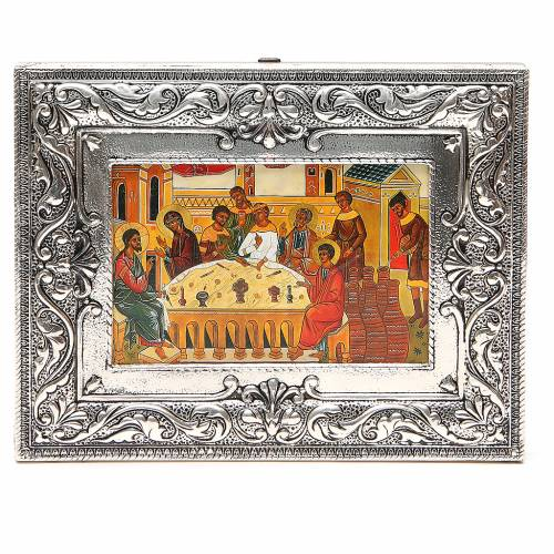 STOCK Icône Noces de Cana plaque argent 925 18x23 cm s1