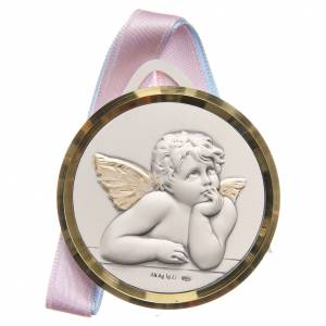 Medals and decorations for cradle: STOCK Round cradle decoration Angels silver 925