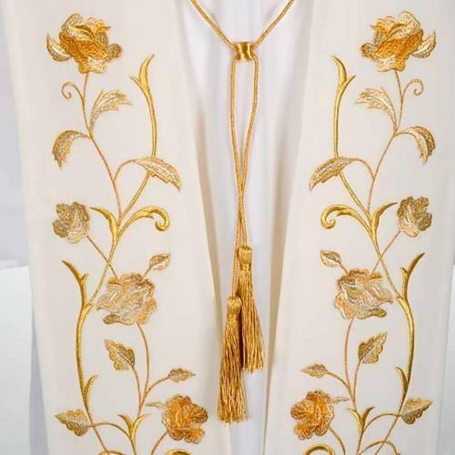Stola bianca fiori dorati s2