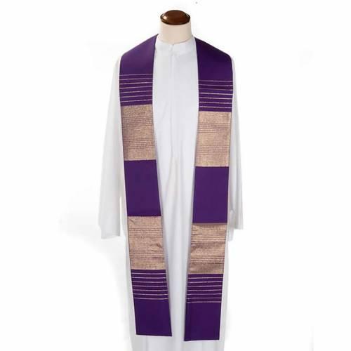 Stola liturgica pura lana strisce dorate s3