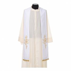 Stola sacerdotale ricamo dorato croce JHS due lati tessuto poliestere s5