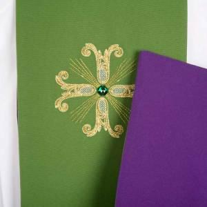 Priesterstolen: Stola zweifarbig grün violett Kreuz Glassteine