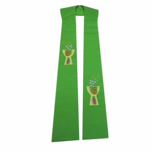 Stole in polyester with chalice and grapes embroidery s1