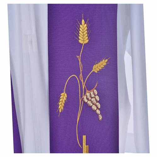 Stole in polyestere with cross embroidery s5